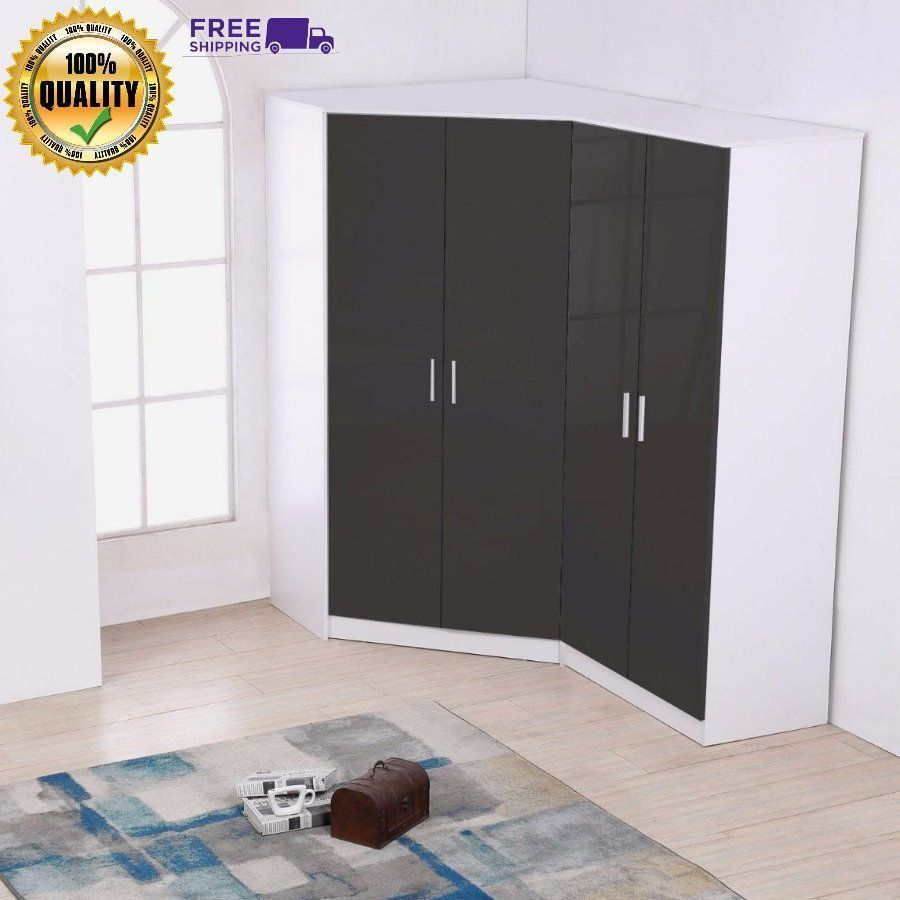 door corner wardrobe high gloss grey white sturdy home bedroom