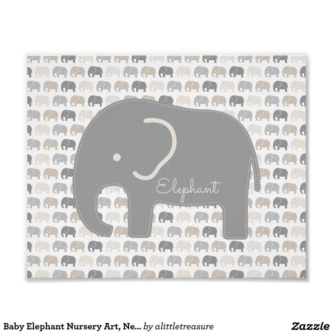 Baby-Elefant-Kinderzimmer-Kunst, neutrales Beige Poster ...