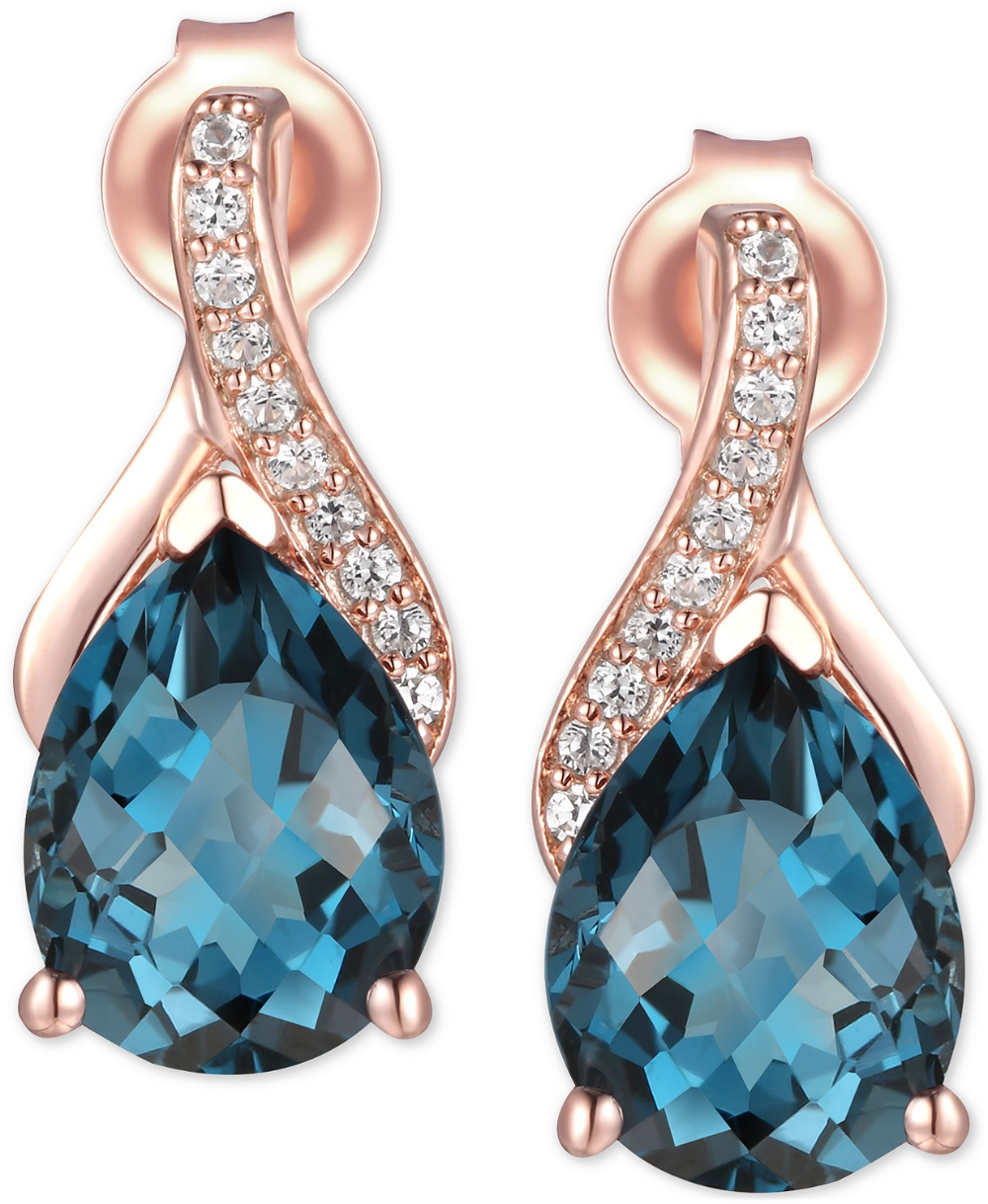 Dazzling Precious London Blue Topaz Chain Dangle Drop Handmade Silver Earrings