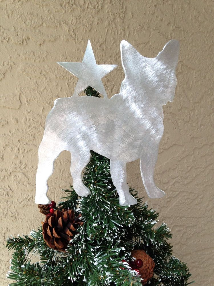 french bulldog wstar dog tree topper wreath decor holiday christmas decor