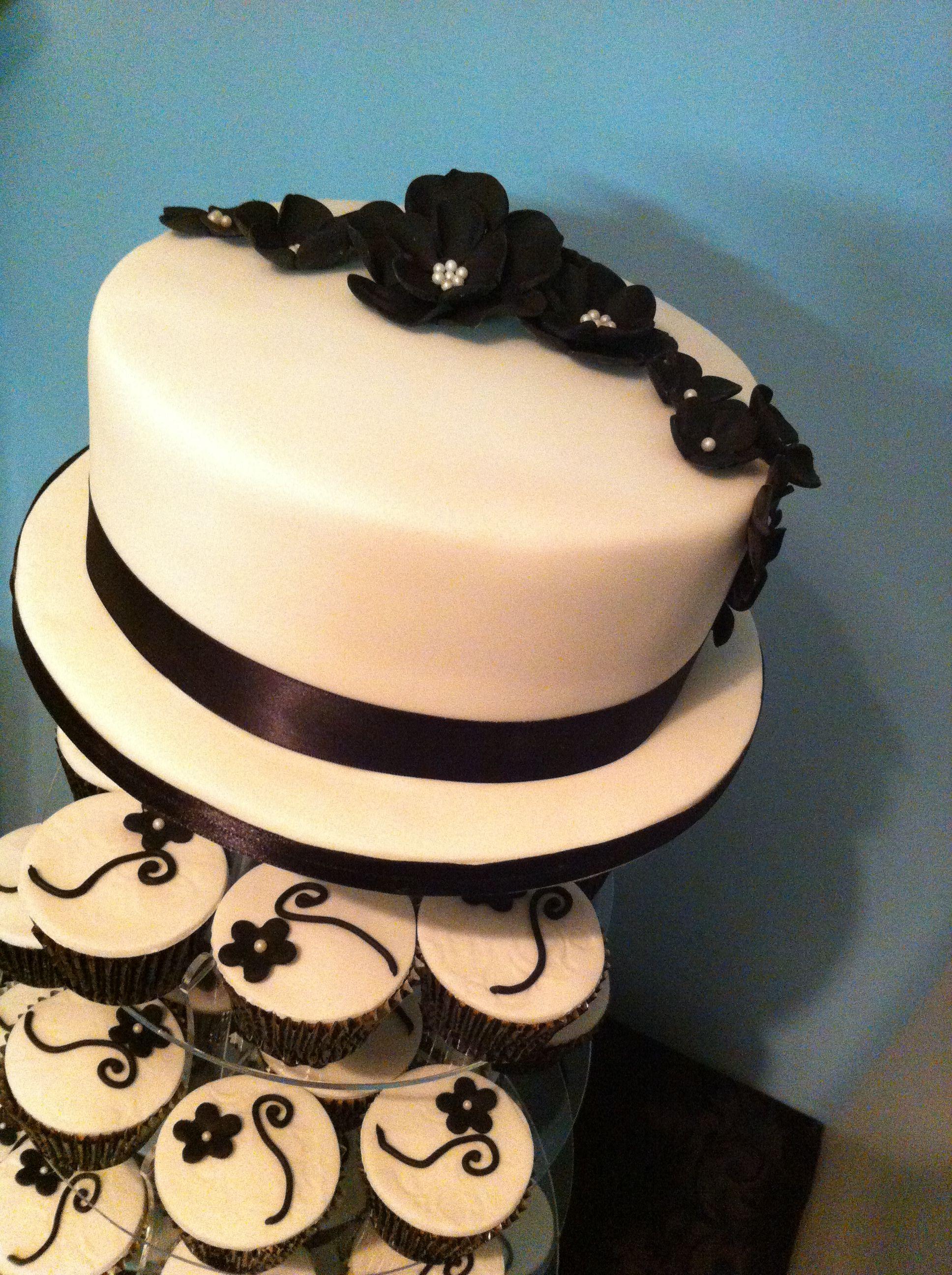 Black and white cupcake tower cake