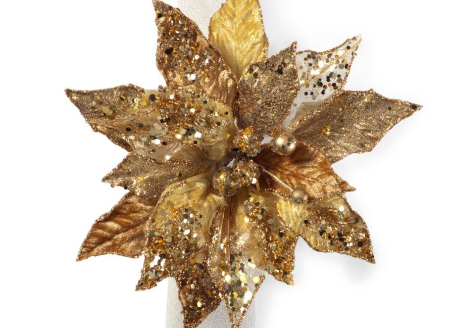Poinsettia Napkin Ring Set of 4 Gold