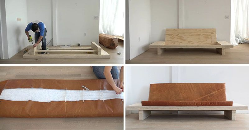 Learn How To Create Your Own Diy Modern Wood Couch With Leather Cushions Praktische Tipps Bett Haus