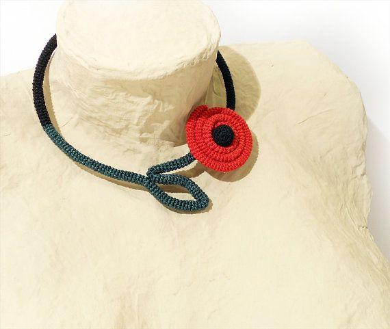 Crochet Tube Necklace Wrapped Loving Flower by vanessahandmade, $35.00