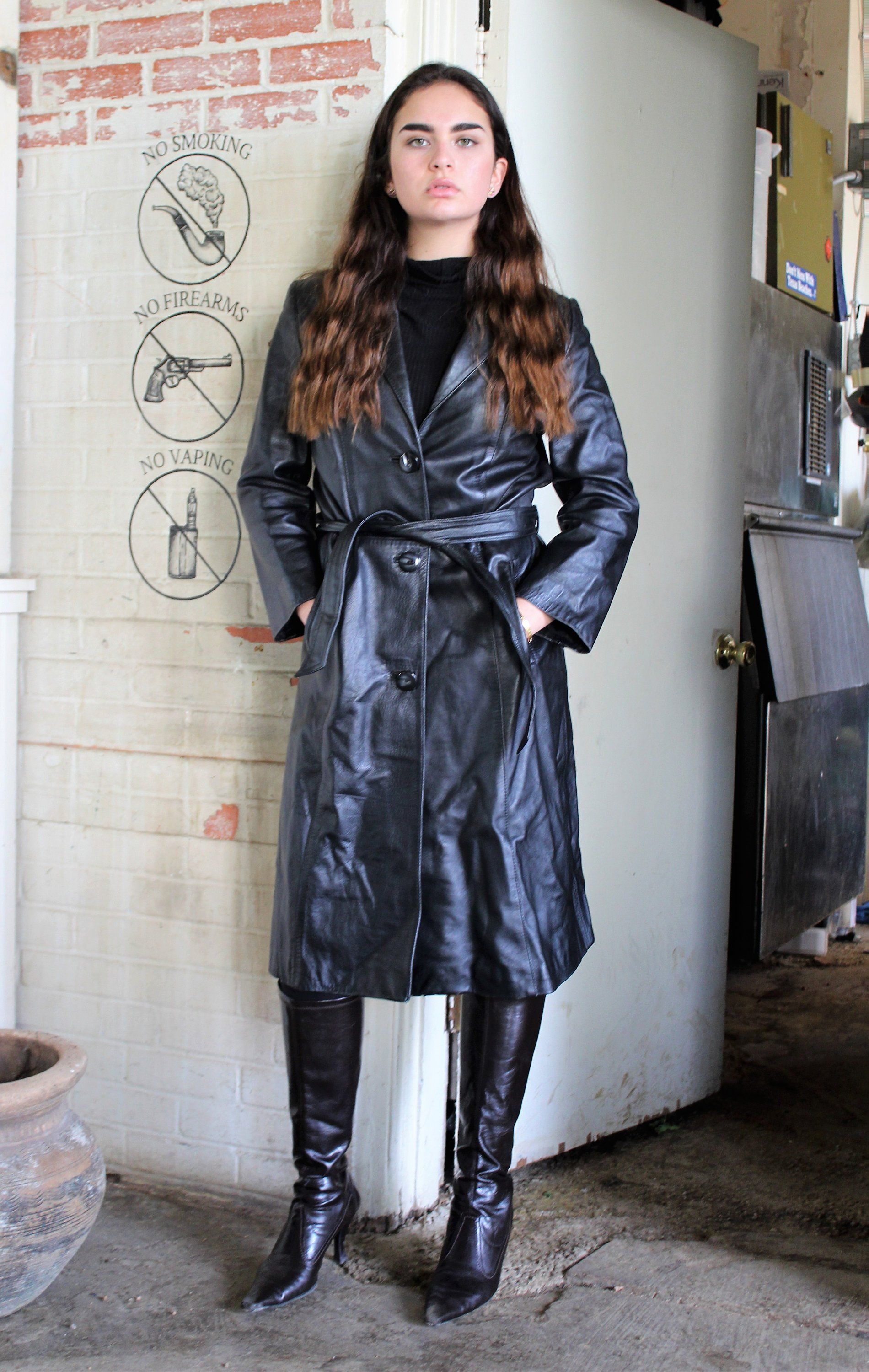 Vintage 70s black leather trench coat Natural Leather
