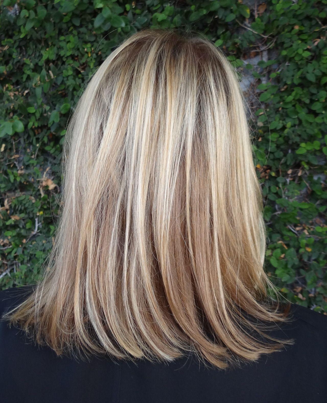 Blonde shoulder length highlights (brassiness corrected) - Sarah Conner (stylist's blog)