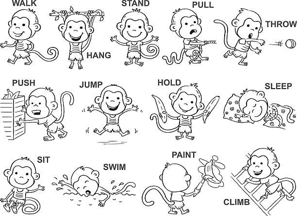 Verbs Of Action In Pictures Black And White Vector Art Illustration Verbs For Kids Action Verbs Verb Worksheets