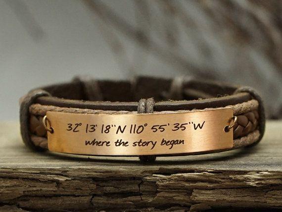 Custom Coordinates Bracelet Mens Leather