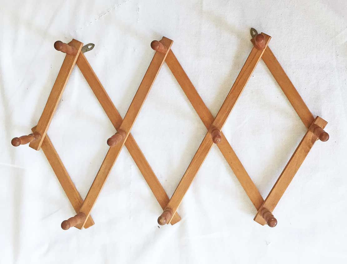 Hat Rack Vintage Wood Accordion Wall Coat Holder Expandable Vintage Wood Hat Rack Coat Rack Wall