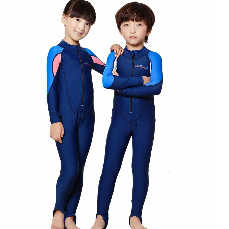 034ef02c86 DIVE&SAIL Girls Swimwear Kids Rash Suit Full Body Swimsuit Long Sleeve Wetsuit  Surf Swim Suit One Piece Swimming Suit For Boys