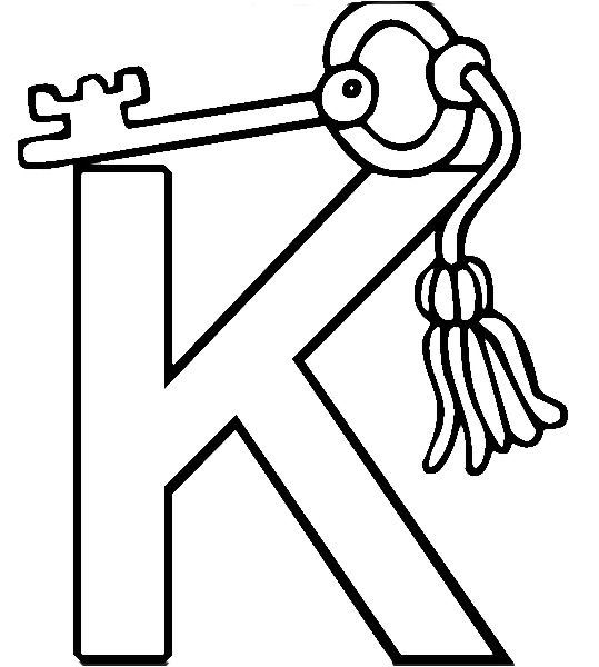 K For Key Coloring Pages Alphabet Coloring Pages Alphabet