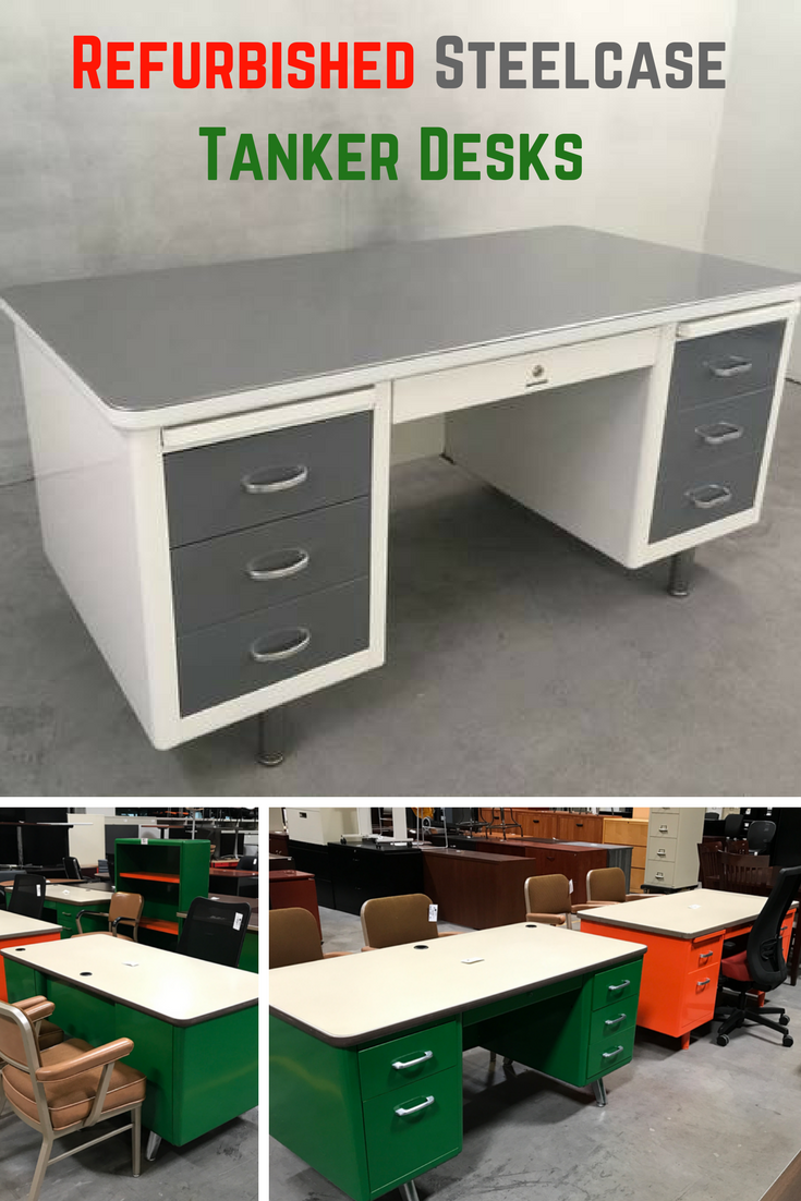 Refurbished Steelcase Tanker Desks These Desks Are Timeless Priced Under 1600 You Can Have A Restored Tanker Desk Made To La Tanker Desk Desk Steelcase