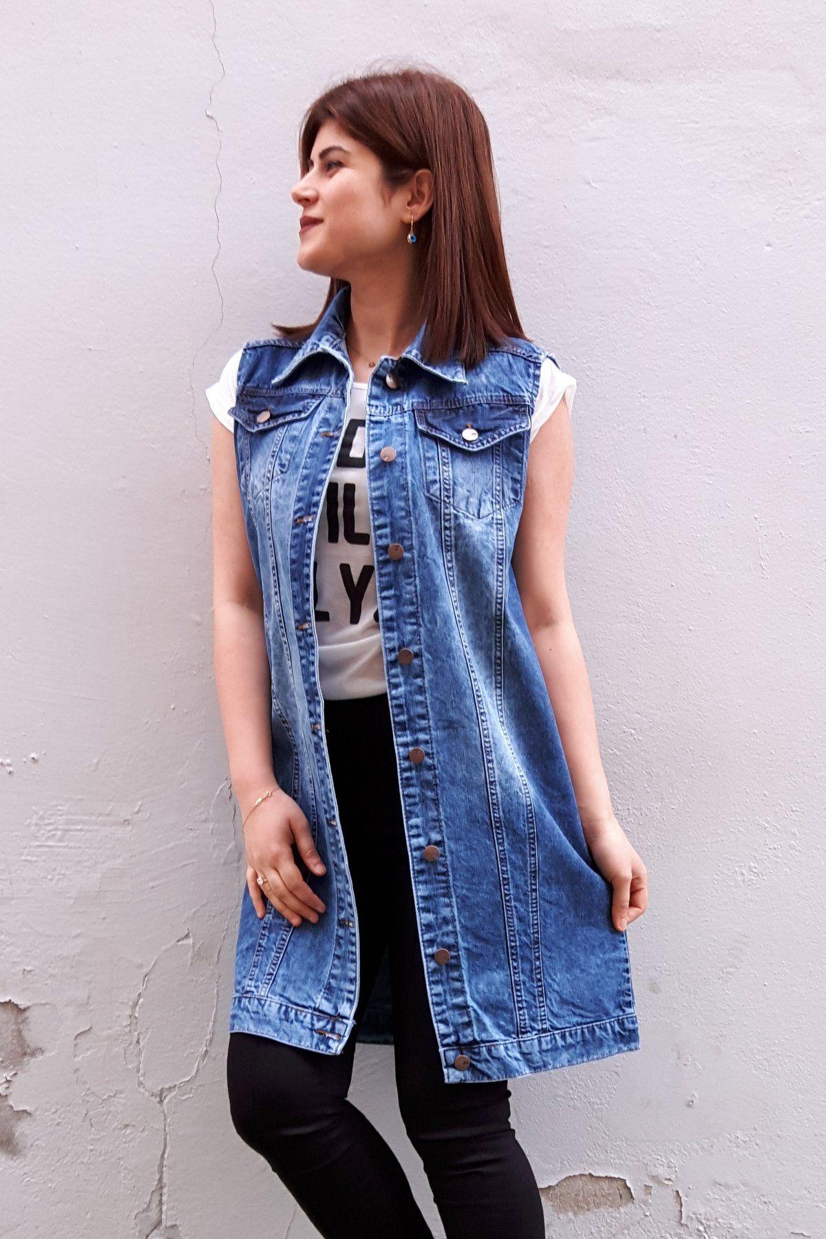 Yikamali Uzun Bayan Kot Yelek Moda Stilleri Giyim Kot Yelek