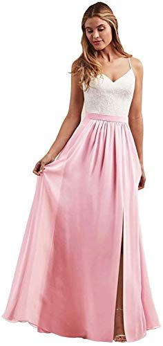 New Women's Bridesmaid Dress Spaghetti Strap V-Neck Side Slit Lace Long Chiffon Evening Gowns online