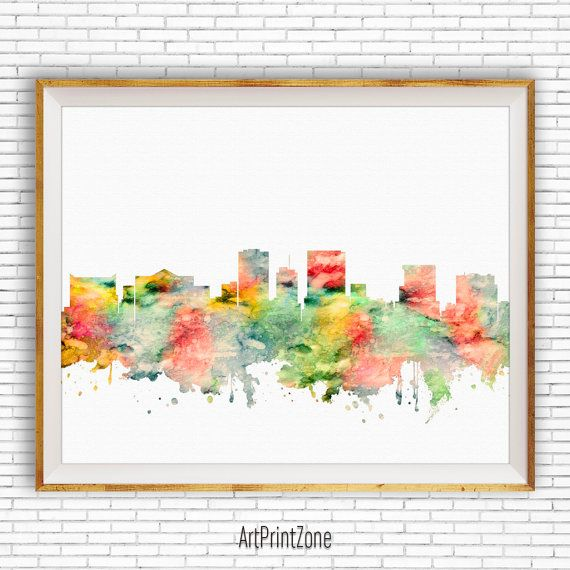 Albany New York Watercolor Skyline Wall Art Home Decor Poster UNFRAMED