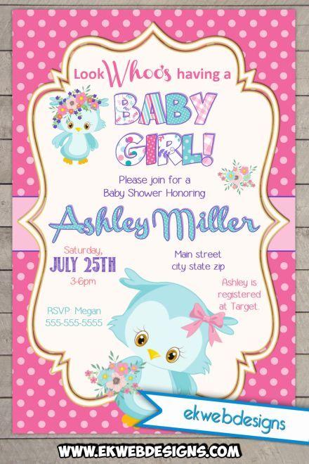 Owl Woodland Its A Girl Baby Shower Invitation Custom Printable