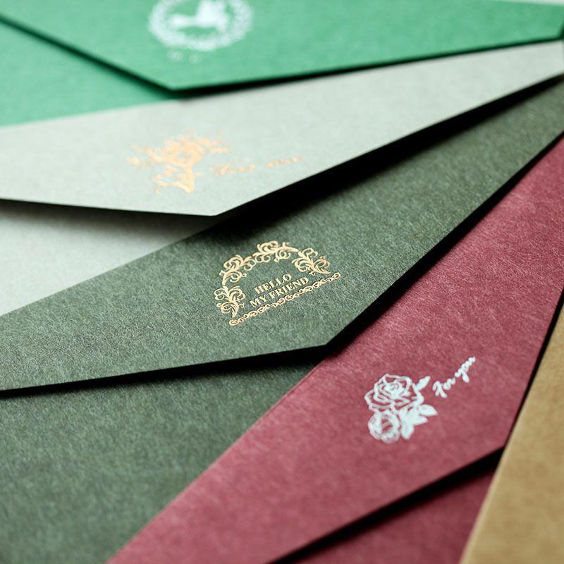 12pcs lot B2 retro color gold foil Western style paper envelope - business invitation letter