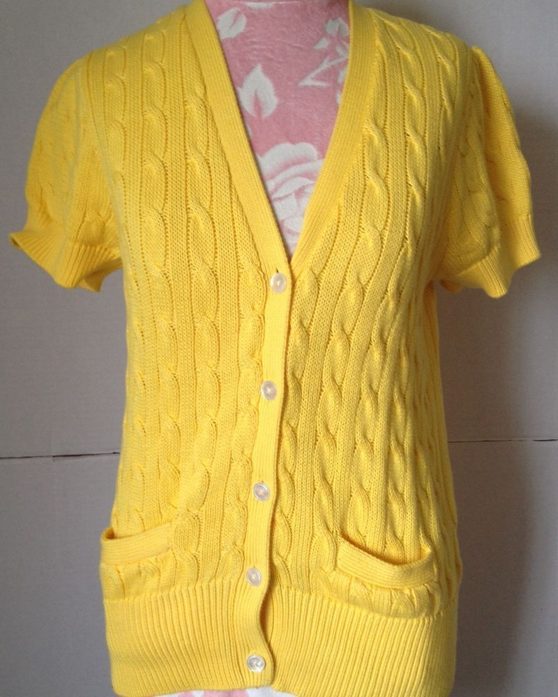 Ralph Lauren Blue Label Yellow Cotton Cable Knit Short Sleeve ...