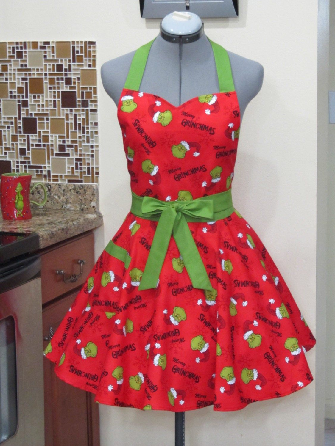 Grinchmas Apron on Red With a hint of Green Ready to