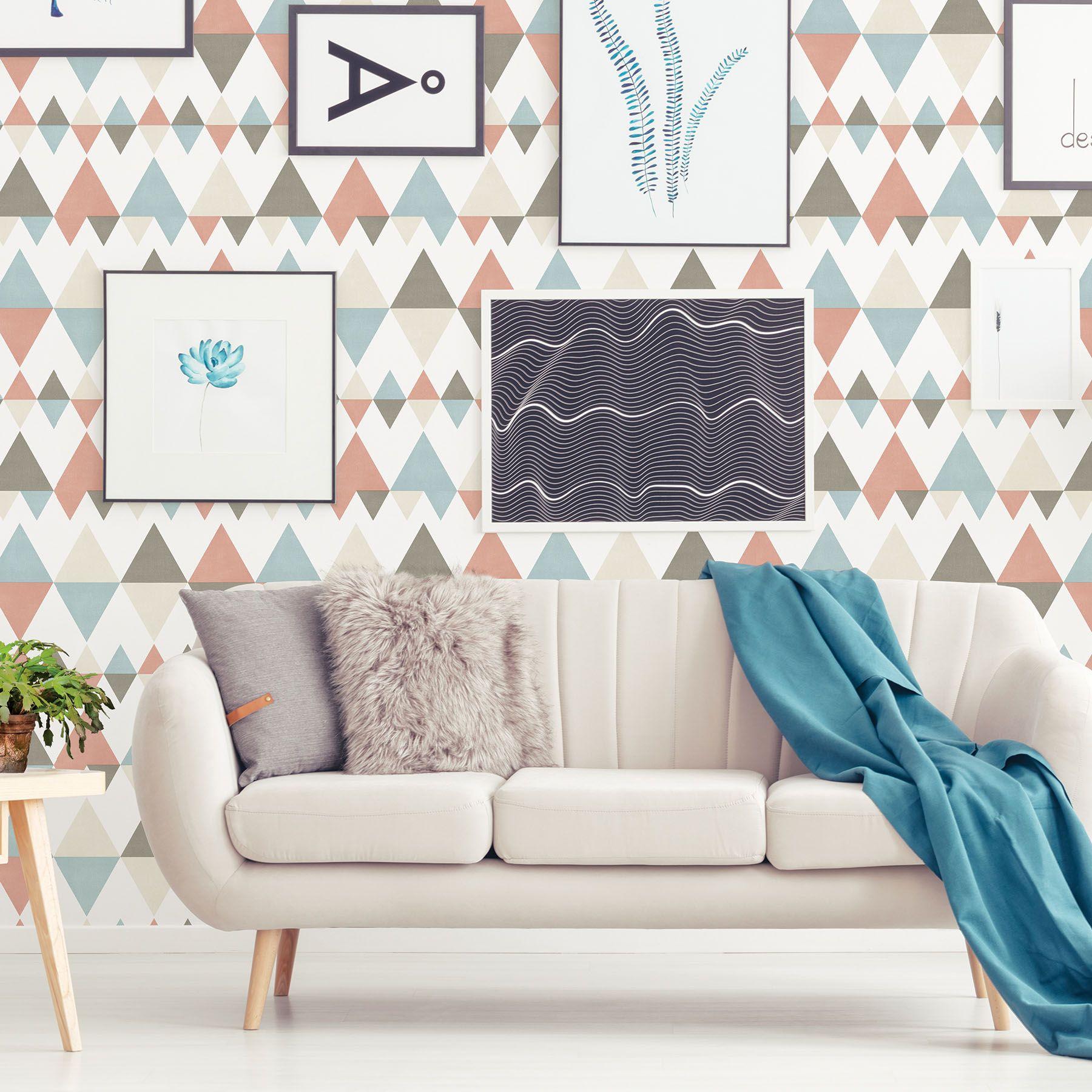 Trilogy Coral Geometric Wallpaper Geometric Wallpaper Wallpaper Shop Wallpaper