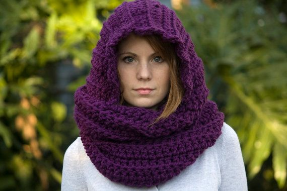 Scarf With Hood Scoodie Purple Scarf Eggplant Crochet Scarf