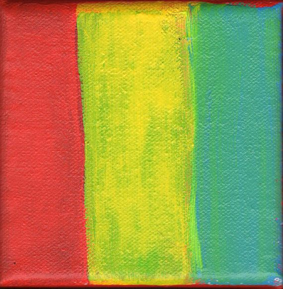Contemporary Abstract Painting 4 x 4 Artist with Autism Red Yellow ...