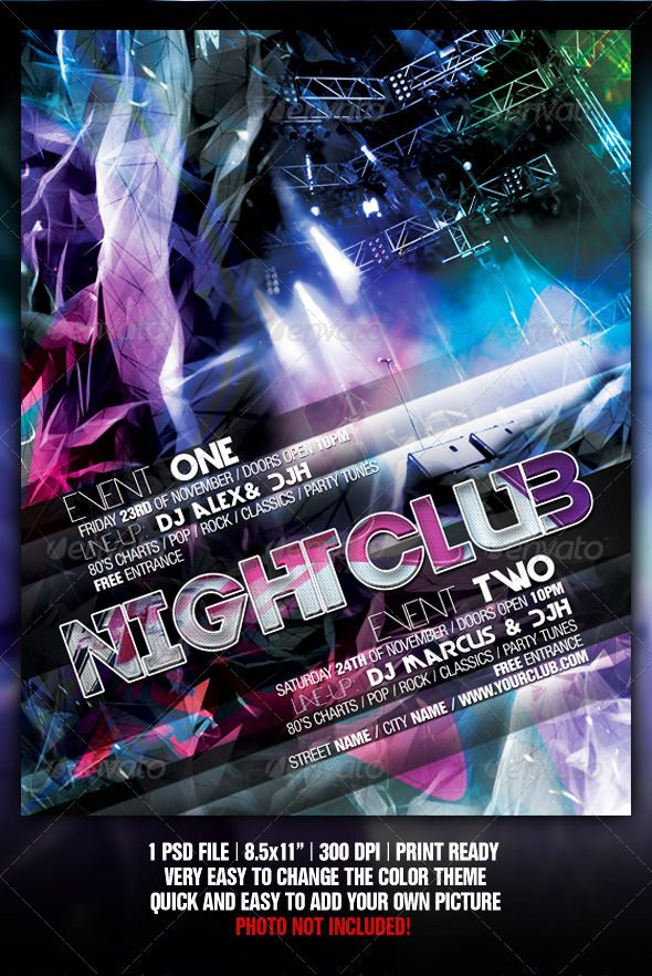 Pin by Greg Lehr on night club graphics | Concert flyer, Club