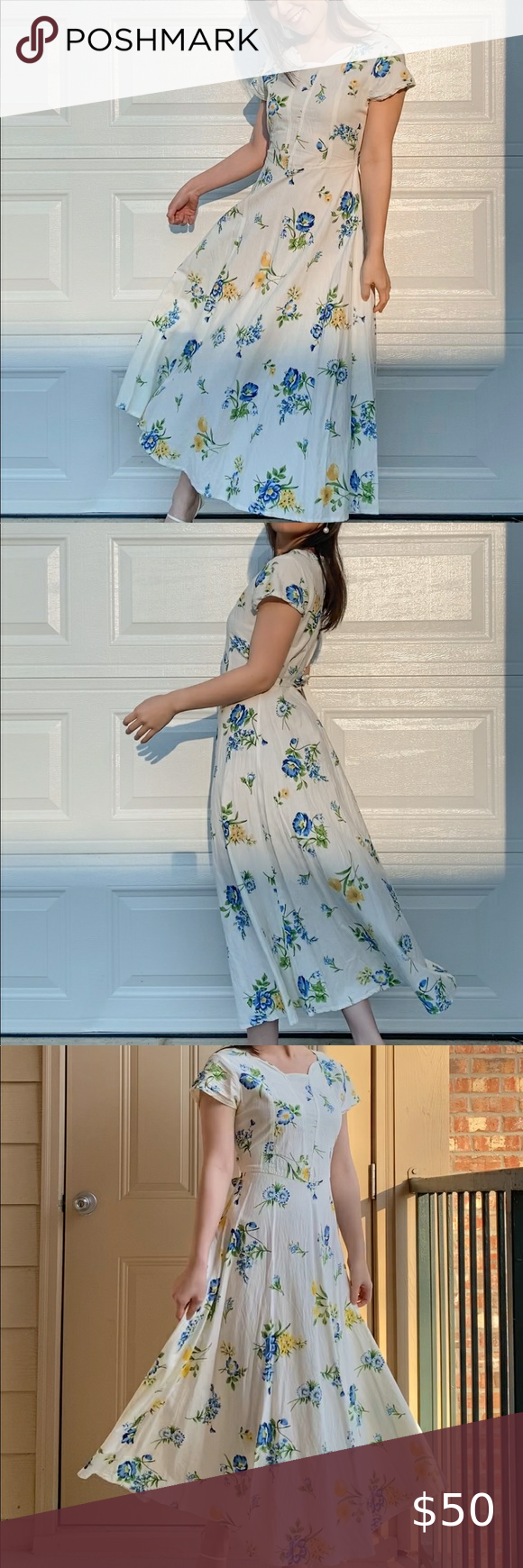 Vintage Blue Yellow Floral Maxi Dress Yellow Floral Maxi Dress Vintage Maxi Dress Floral Maxi Dress [ 1740 x 580 Pixel ]