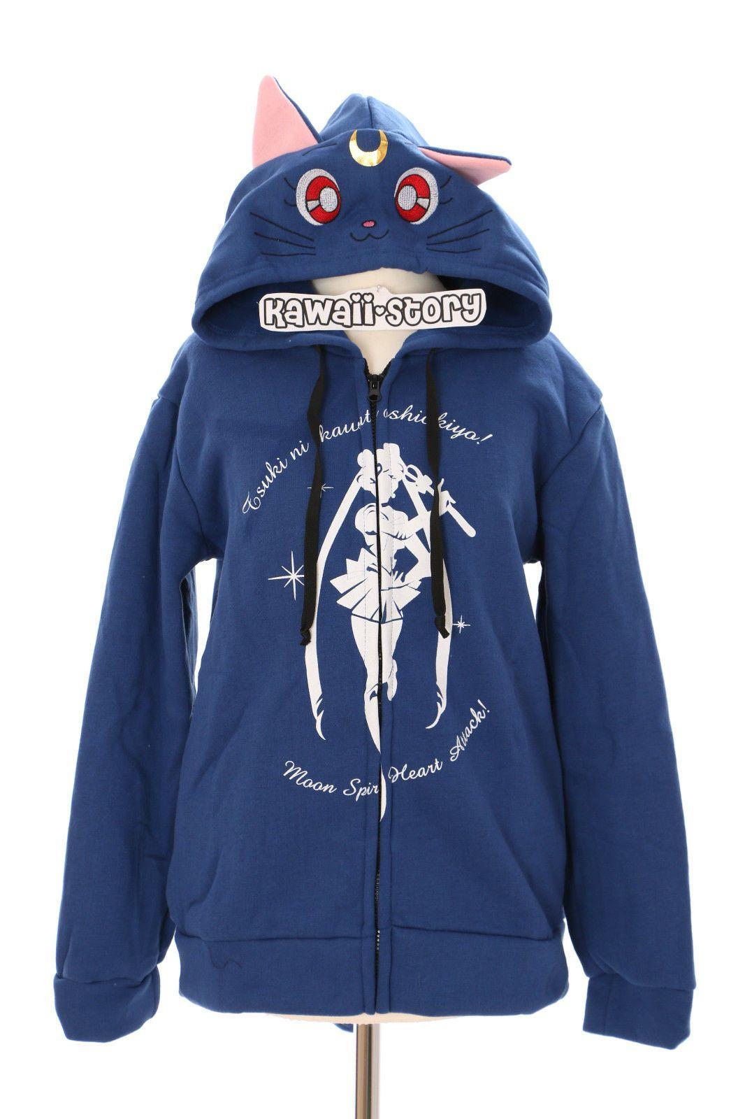 Ta-02 Sailor Moon Neko luna Cat cosplay capucha Sudadera chaqueta suéter  Hoodie… 084e665d289