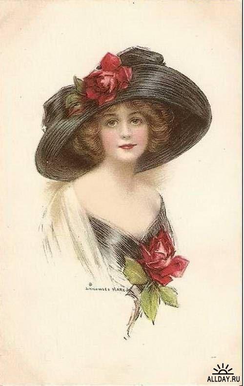 Старые открытки девушки
