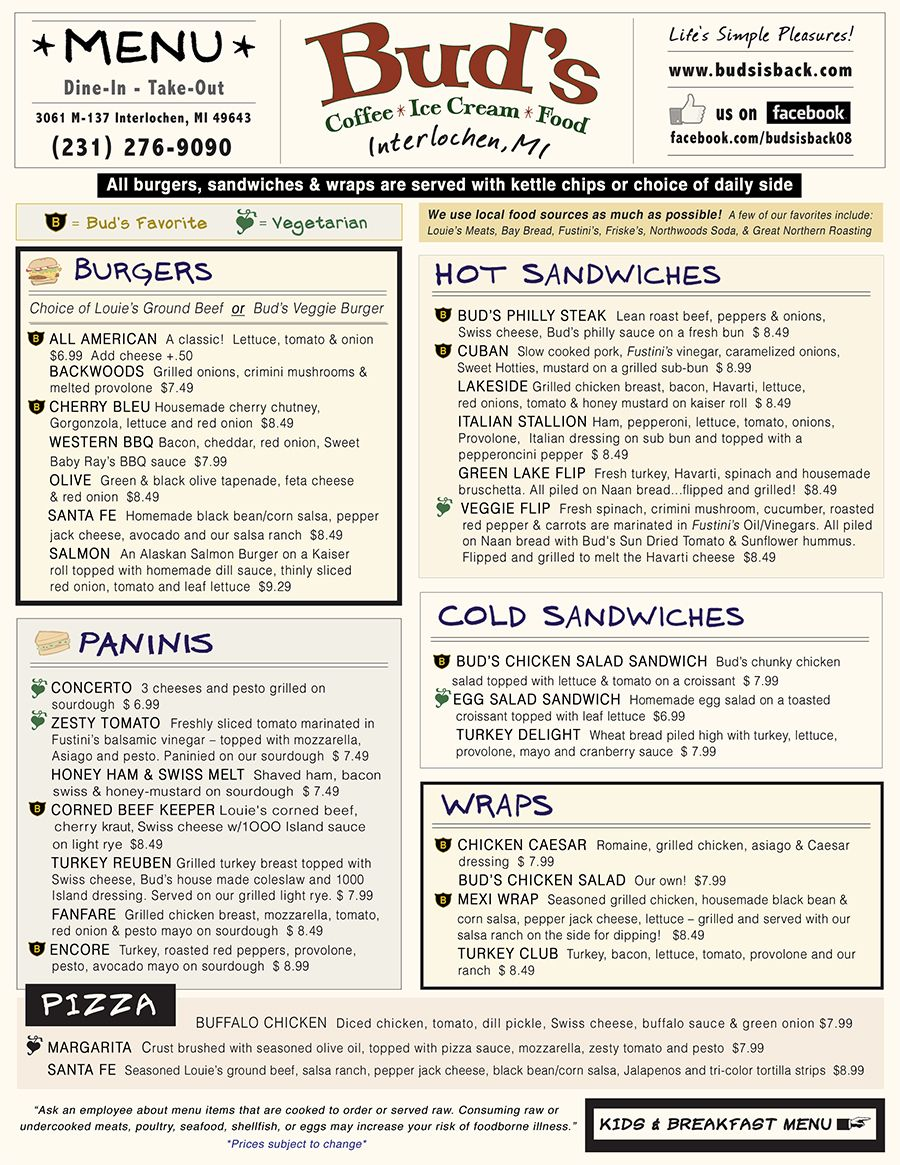 Bud\'s Menu 2013 (front) #Food #Burgers #Paninis #Sandwiches #Pizza ...