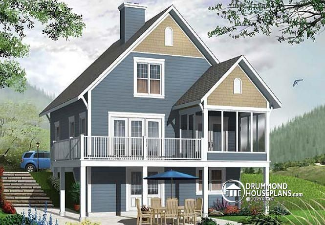 W3929 V1 Screened Porch Cottage House Plan Walkout