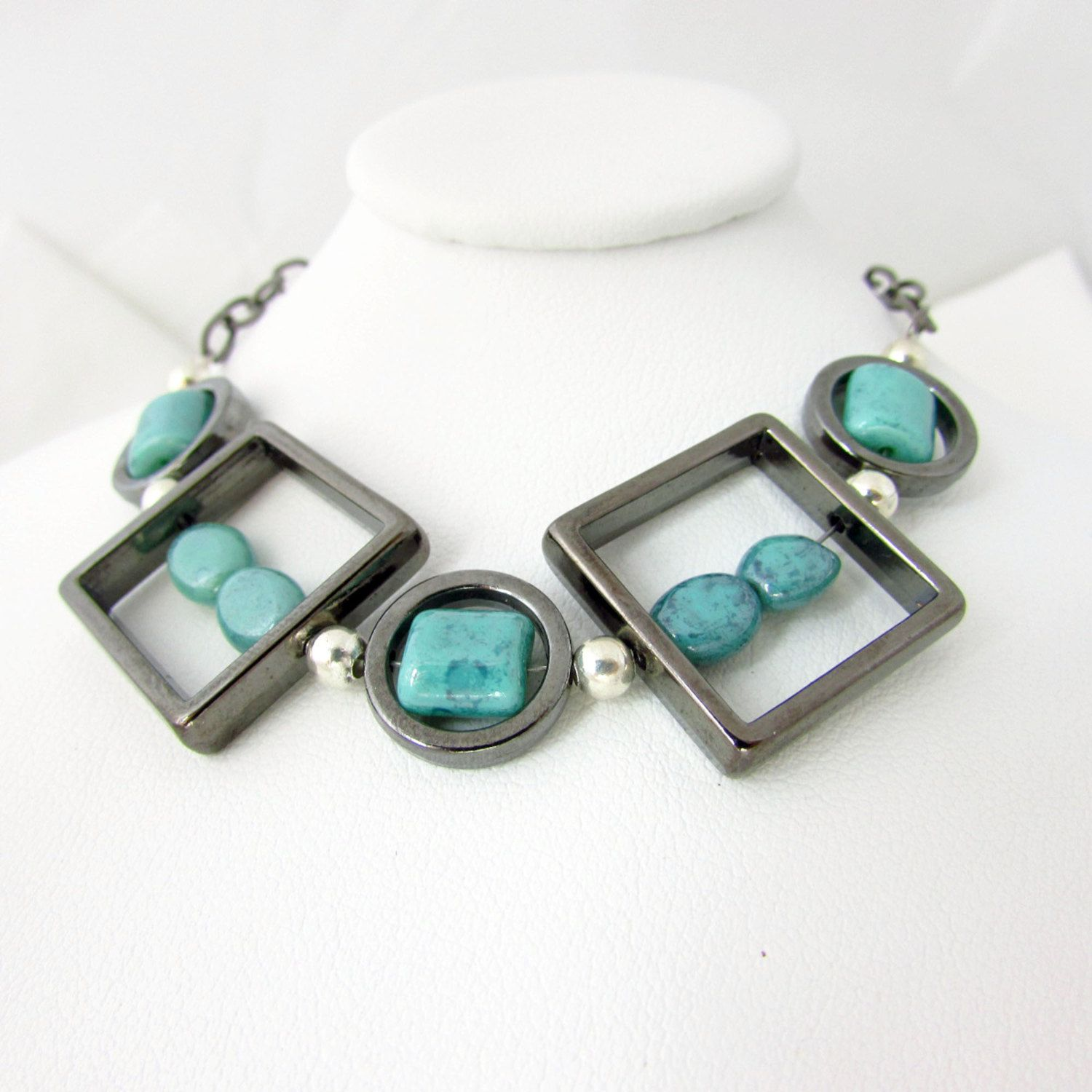 Gunmetal and Turquoise Necklace Square by EarthlieTreasures, $25.95
