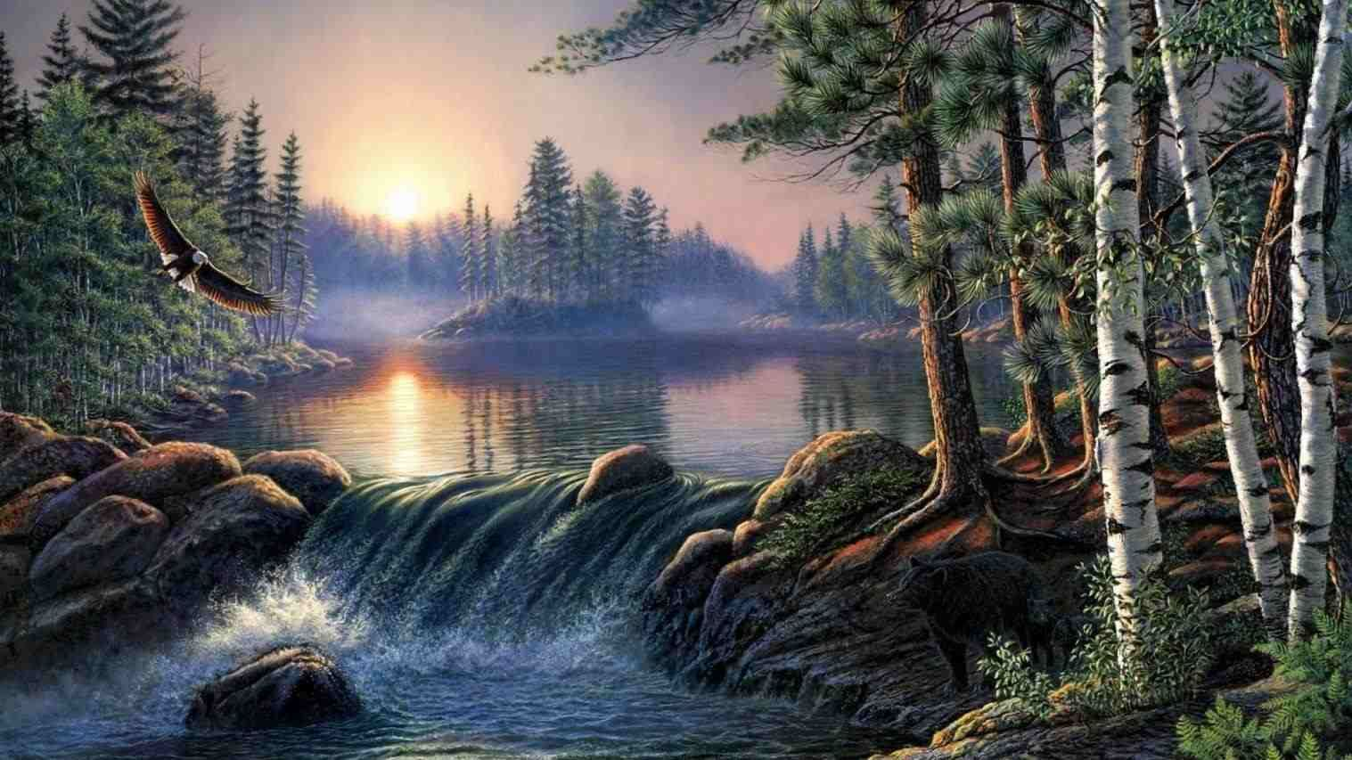 Nature Painting Wallpaper Hd Lungs Nature Wallpaper Nature Background Wallpaper Hd Green Nature Pa Waterfall Paintings Nature Paintings Landscape Wallpaper