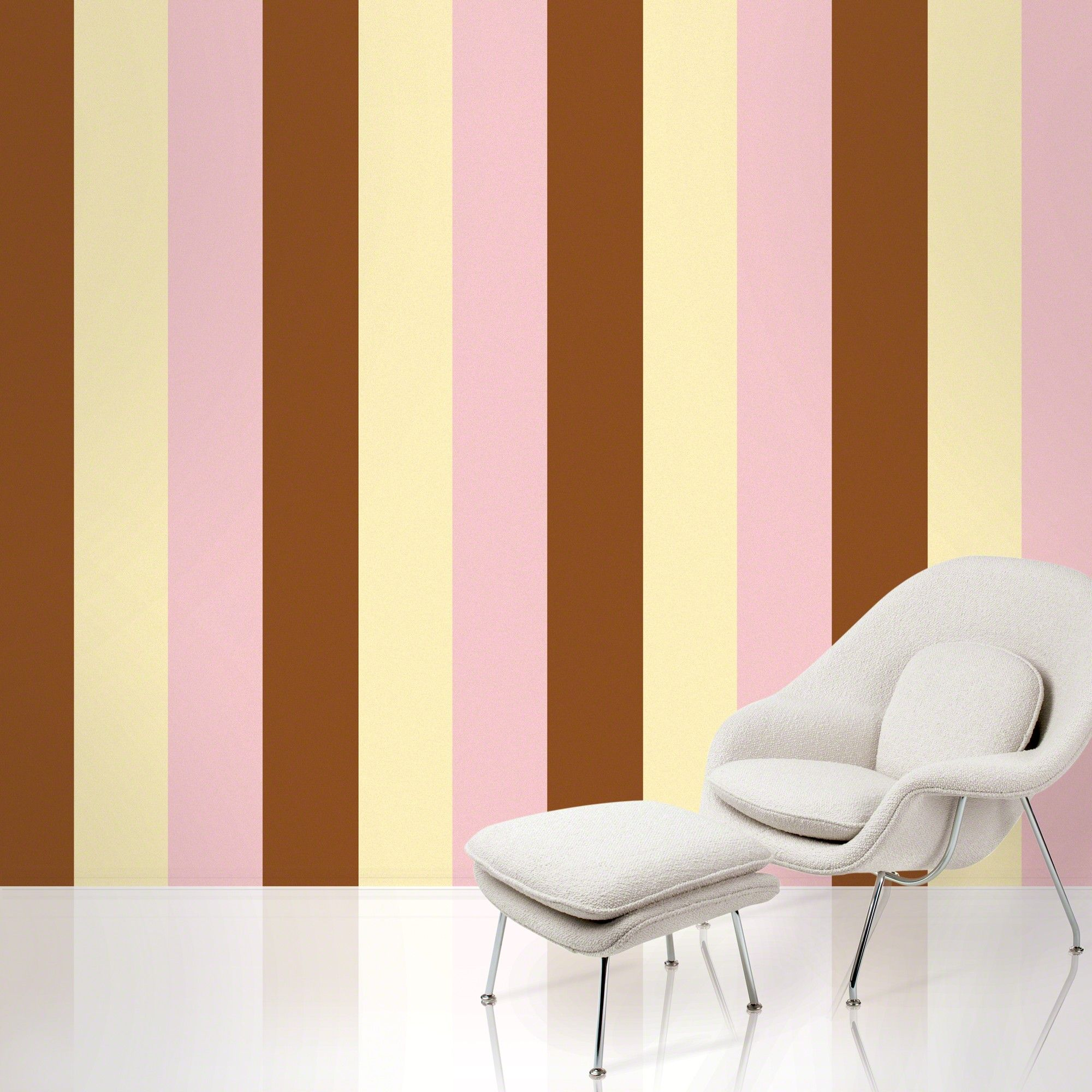 Pink and brown stripe removable wallpaper. Peel & stick vinyl ...
