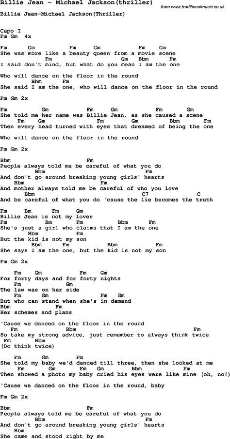 Michael Jackson Billie Jean Lyrics Song Billie Jean By Michael