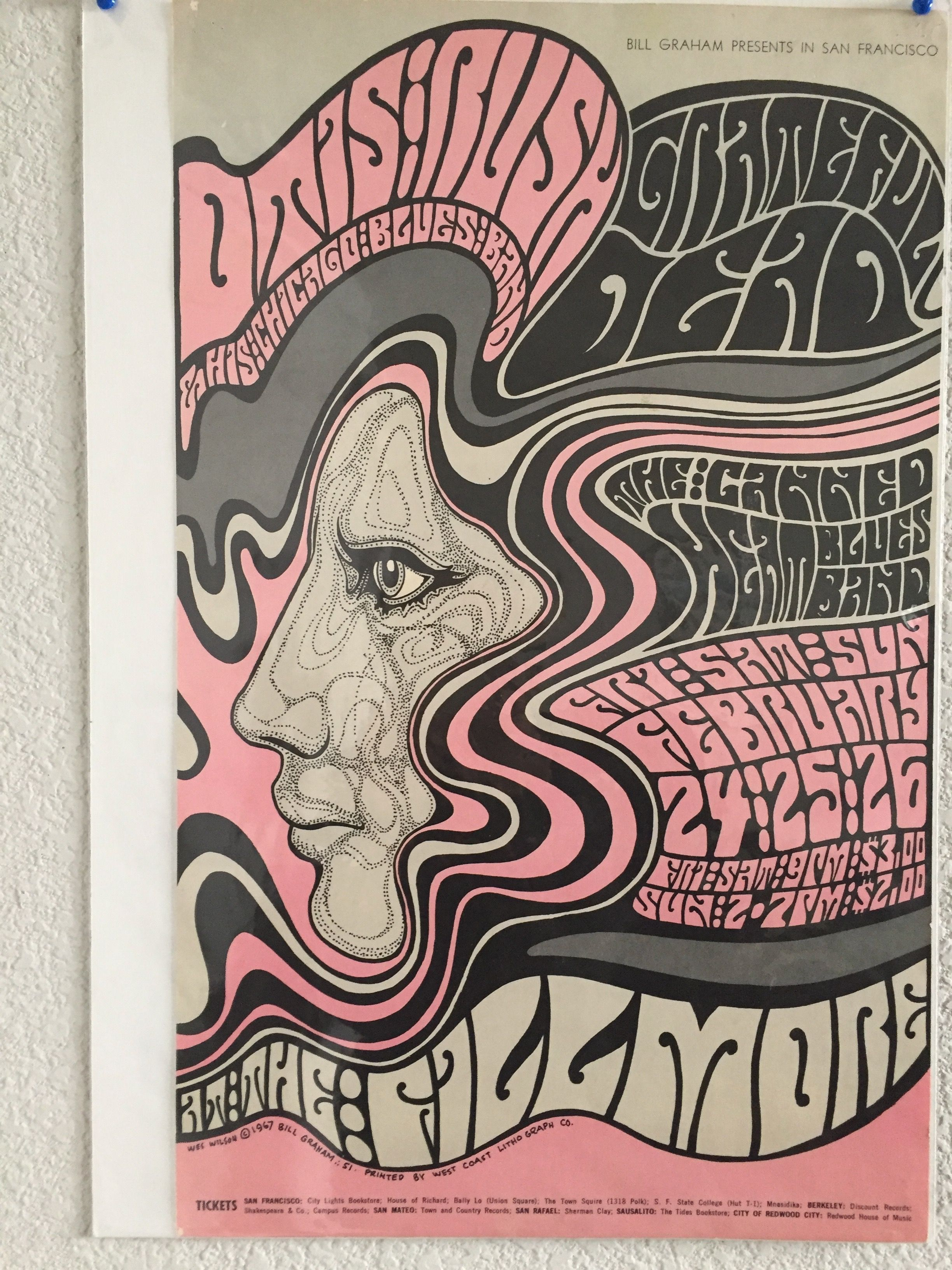 Bill Graham Presents Original Poster From 1967 Featuring Otis Rush Grateful Dead And Canned Heat At The Fillmore