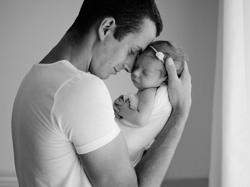 Dad and new baby natural newborn photography niagara toronto