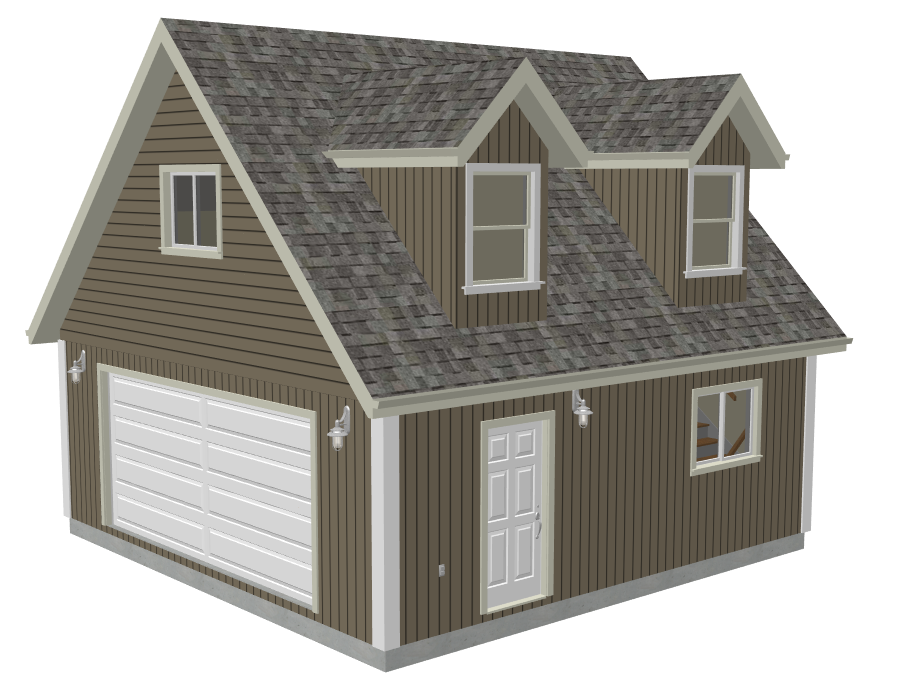 G527 24 x 24 x 8 garage plans with loft and dormer render for Shop with loft