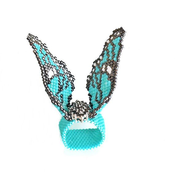 GIFT for Joanne's Birthday Butterfly Beaded Ring by MariYunJewelry, $99.00