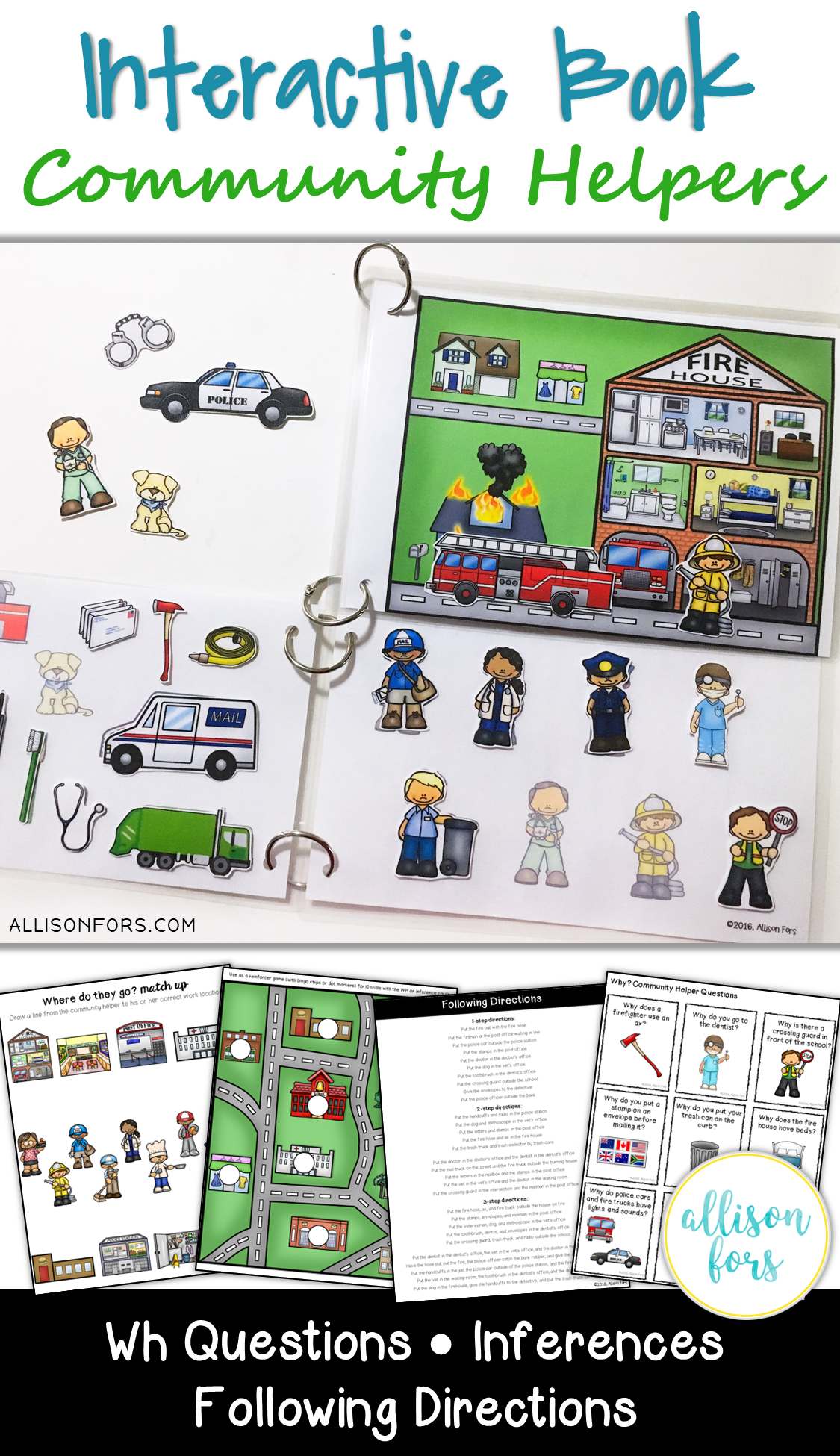 Community Helpers Interactive Book Speech Therapy