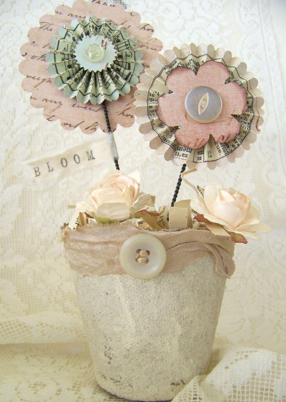 Handmade Spring Rosette Flower Pot Vintage Flower Spring Decoration