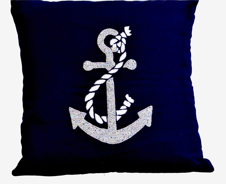 Nautical throw pillows- Beach throw pillows -Anchor throw pillows- Embroidered Pillow -16X16- Modern couch pillows- Gift Pillow- Navy pillow - 14x14