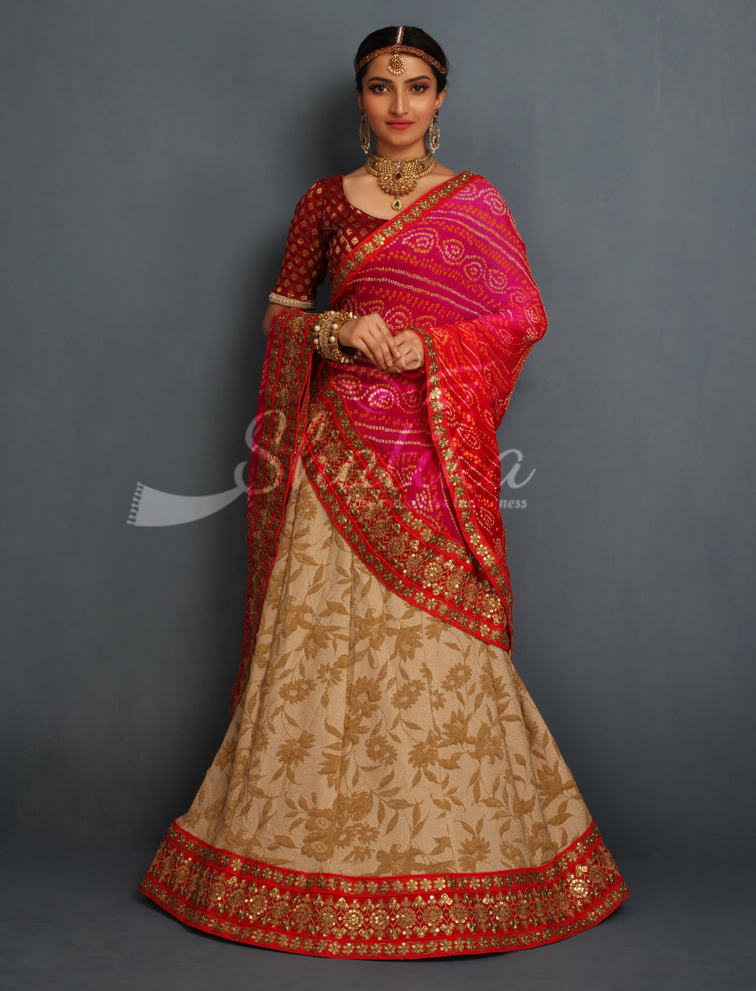 ea2ee0b317 Tanya Cream Full Gold Thread Work With Contrast Bandhej Odhni Designer  Rajasthani Lehenga