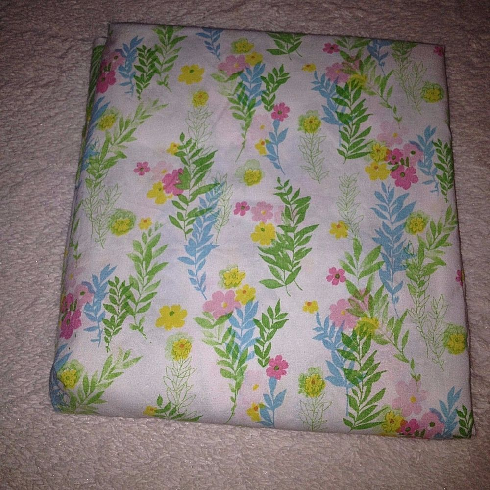 vtg full flat bed sheet cannon monticello pink yellow floral muslin retro 70s