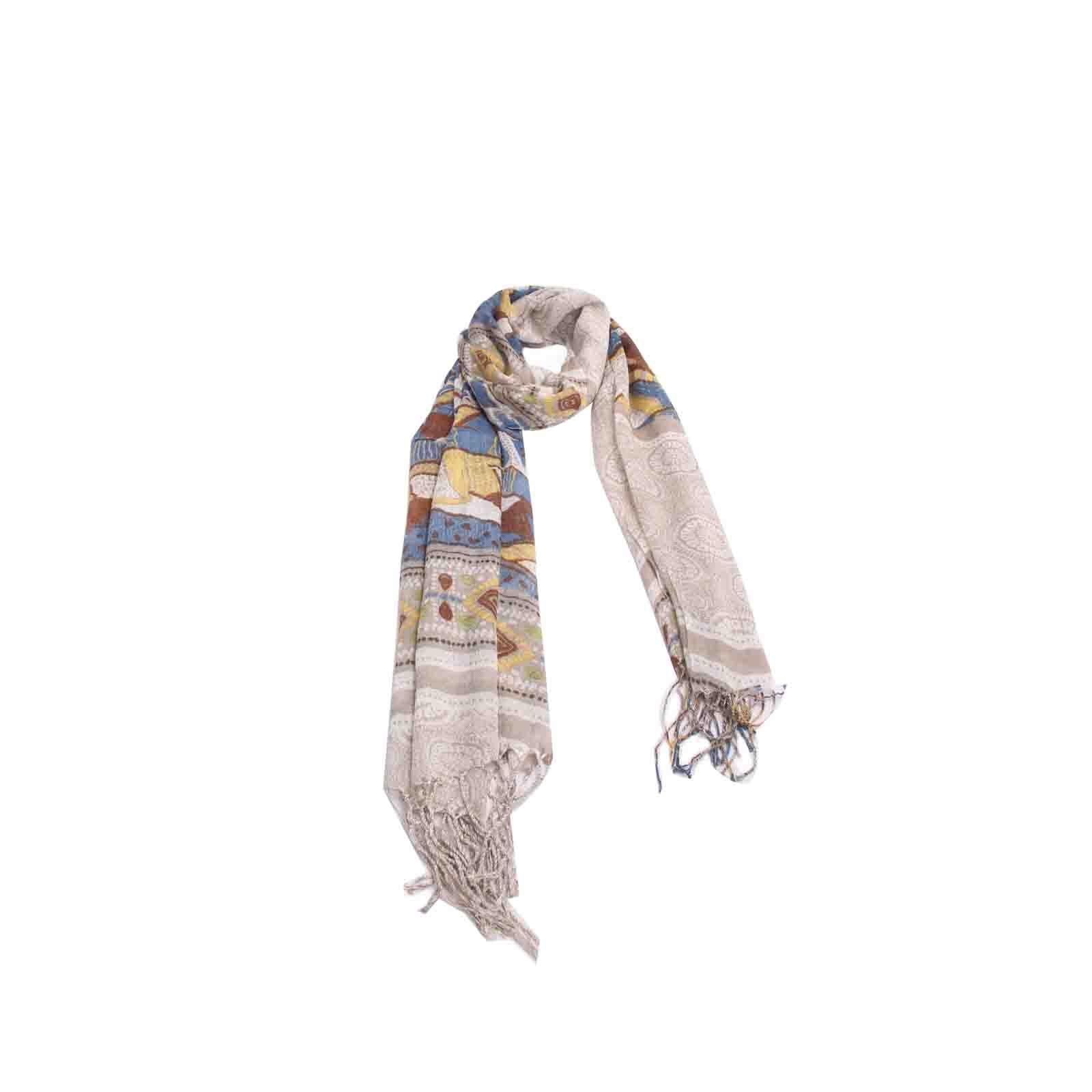Echarpe Geométrica Bege e Azul de Viscose #echarpe #echarpes #lenços #lenço #scarf #scarfs