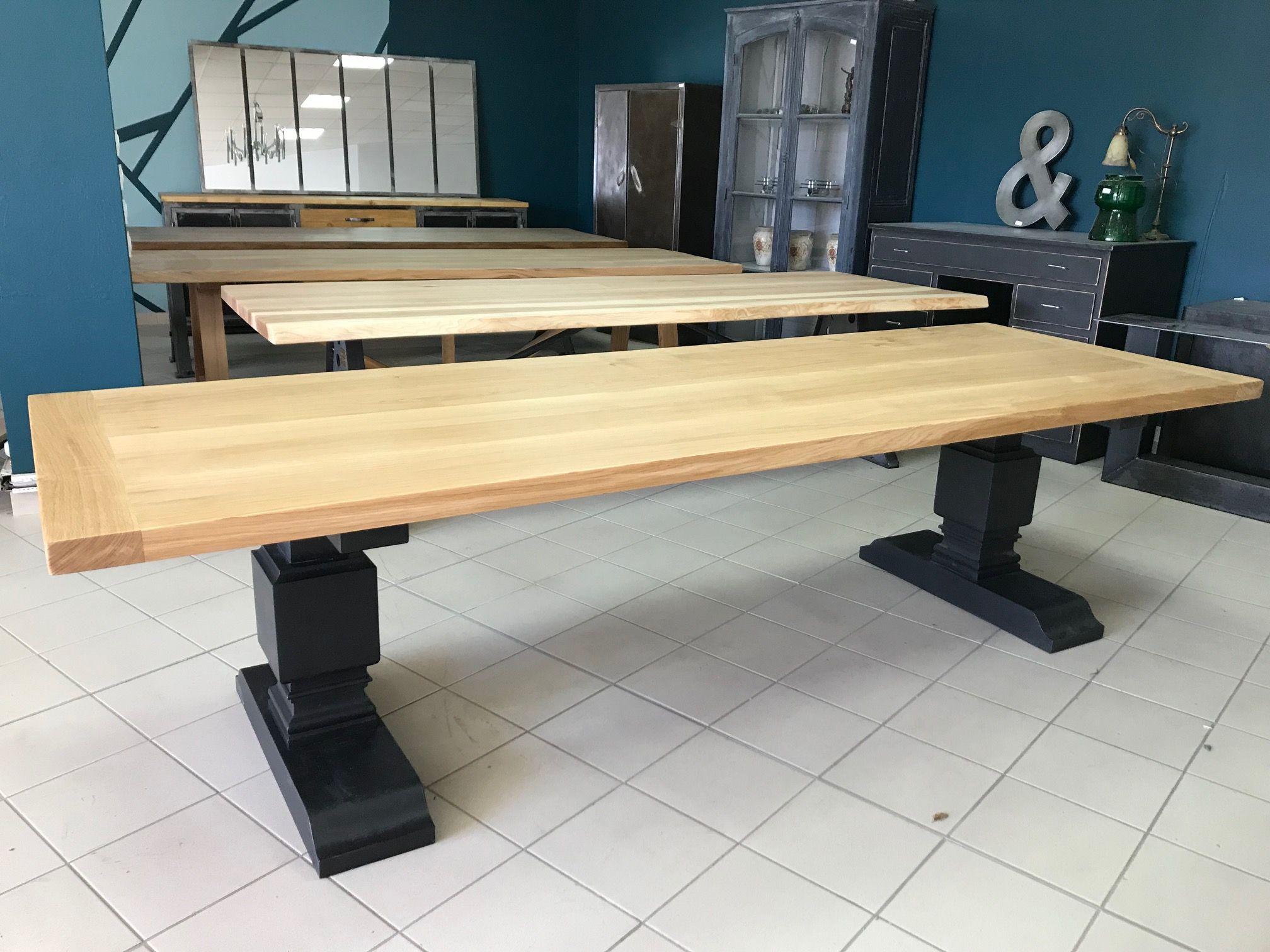 Grande Table De 3 M En Chene Massif Pieds Echec Peints En Noir En Chene Massif Sur Mesure Table Monastere Table En Chene Table Bois Massif