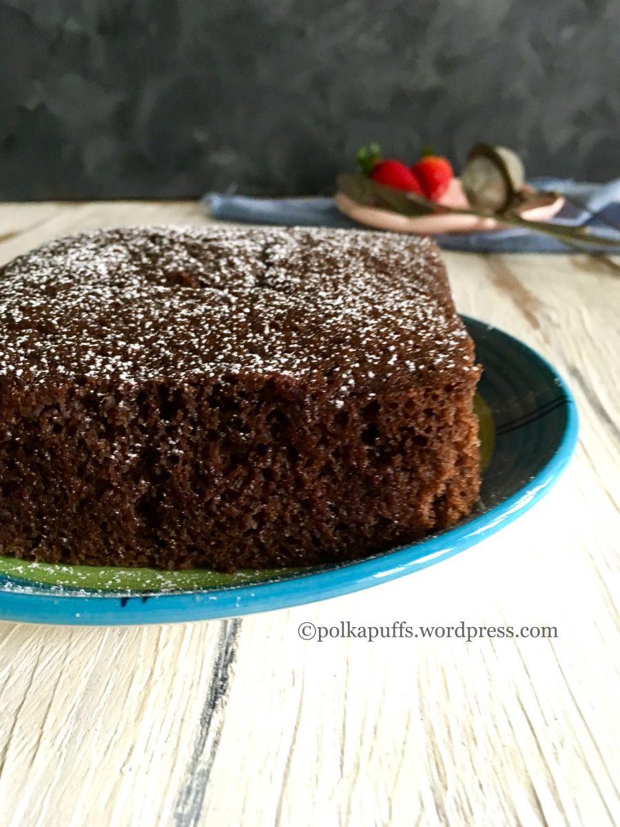 Eggless Chocolate Sponge Cake In Pressure Cooker Vegan Chocolate Sponge Cake Recipe Polka Puffs Recipe Cake Recipes Cake Cooker Cake