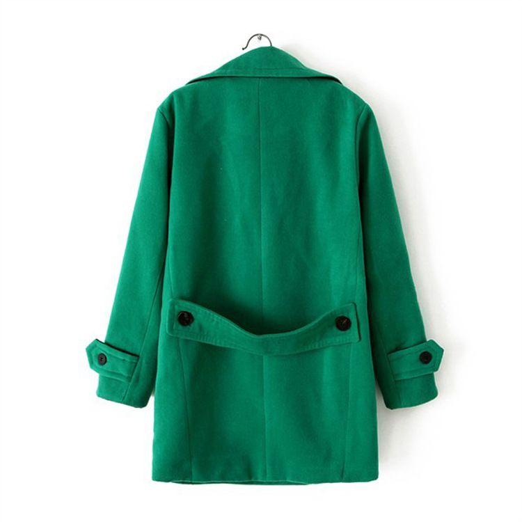 Lapel woolen coat