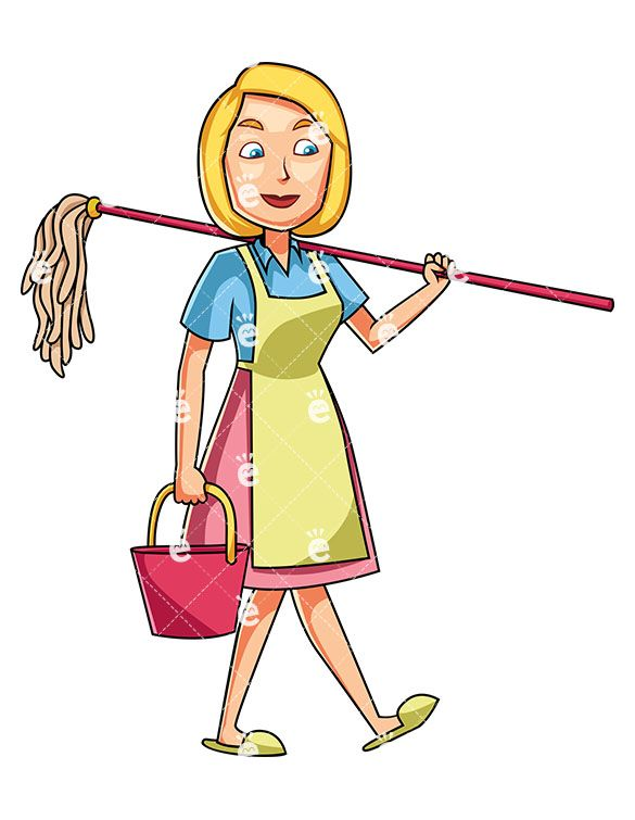 A Woman Carrying A Mop And A Bucket Cleaning Cartoon Cartoon